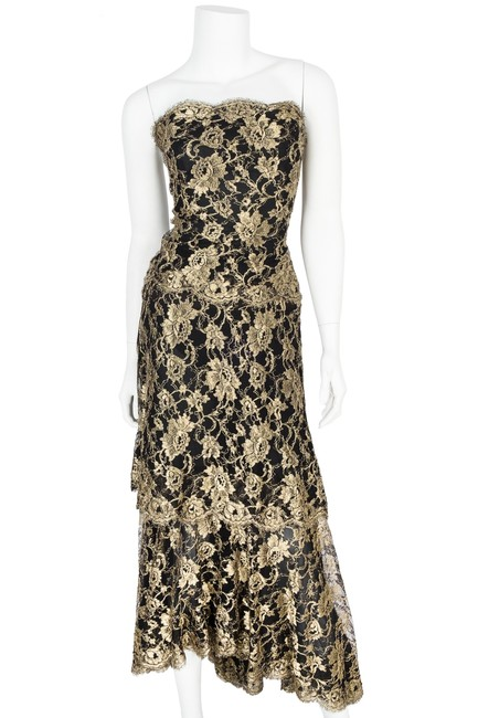 Chanel Black & Gold Lace Evening Gown 40 Long Formal Dress