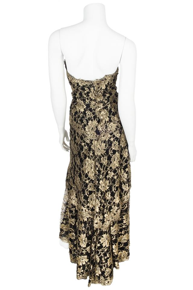 Chanel Black & Gold Evening Lace Gown 40 Long Formal Dress Size 6 (S ...