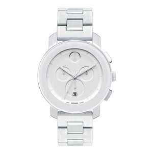 Movado Resin Stainless Bracelet White Dial Chronograph Bold 3600057 Swiss