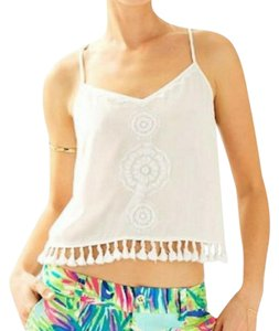 Lilly Pulitzer Embroidered Crop Rayon Top White