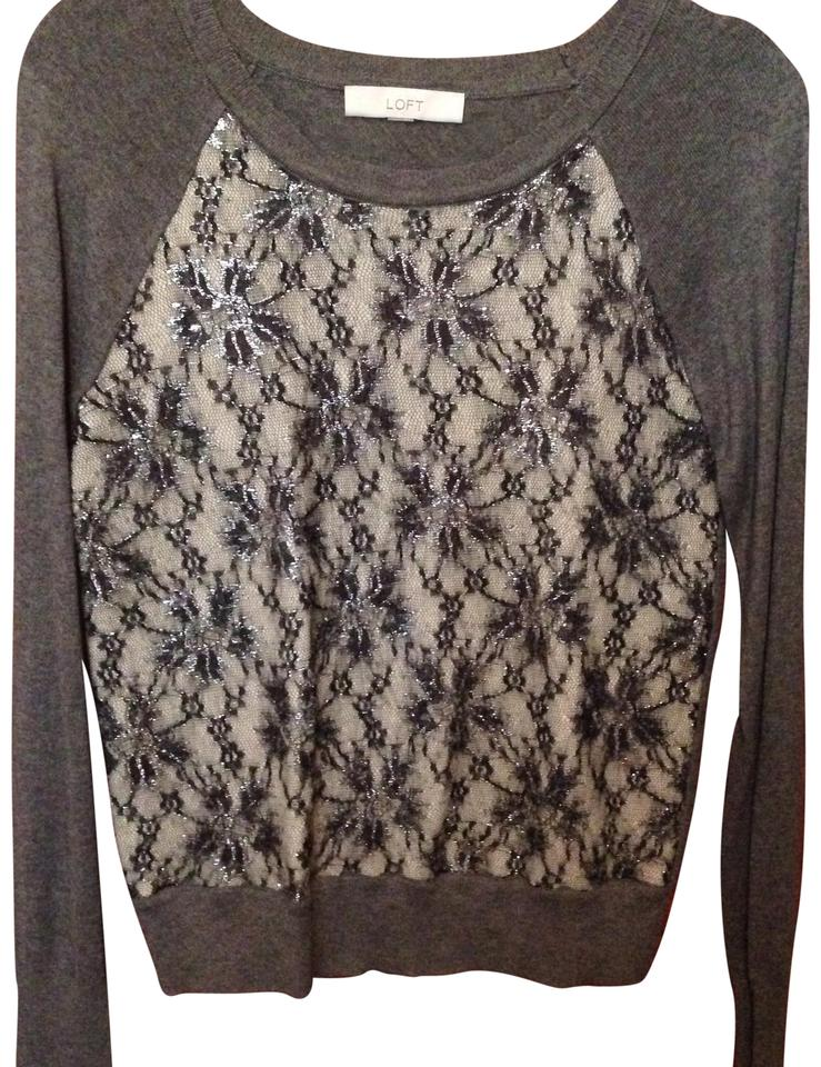 Ann Taylor Loft With Silver Accents Grey Sweater Tradesy