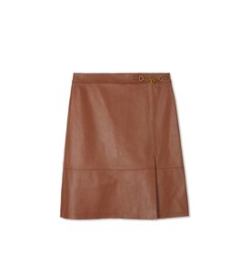 Tory Burch Leather A-line Soft Mini Skirt brown