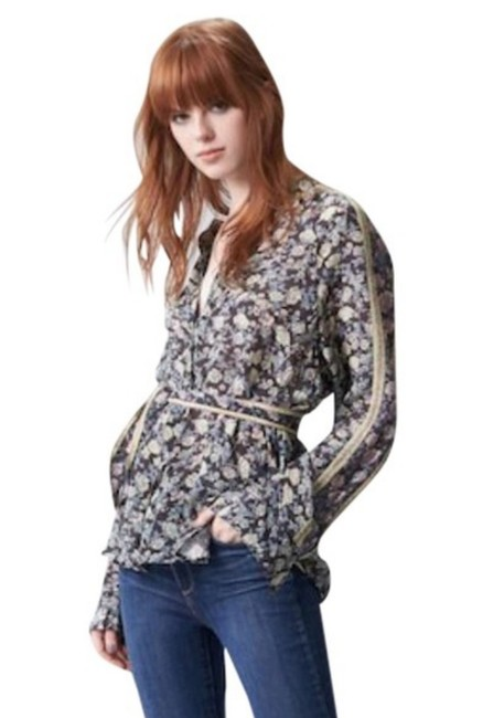 Free People Long Sleeves Floral Split Neck Super Comfy Viscose Optional Sash Top Black Print