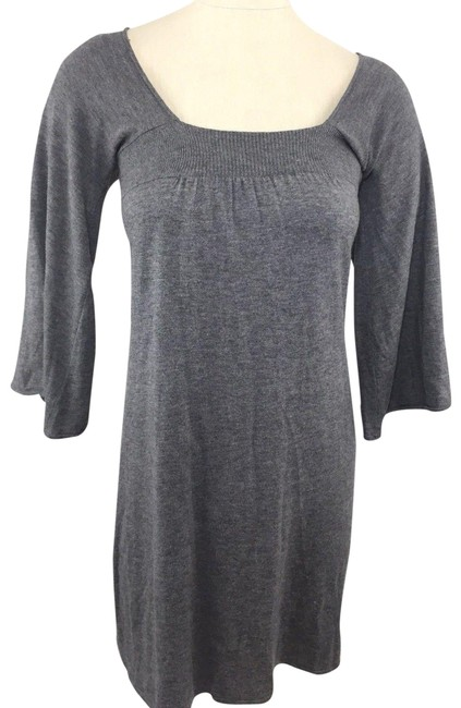Preload https://item3.tradesy.com/images/joie-gray-sweater-empire-waist-34-bell-sleeves-short-casual-dress-size-8-m-22498622-0-1.jpg?width=400&height=650