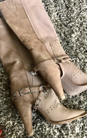 Ivy Kirzhner Suede Leather Studded Taupe Boots