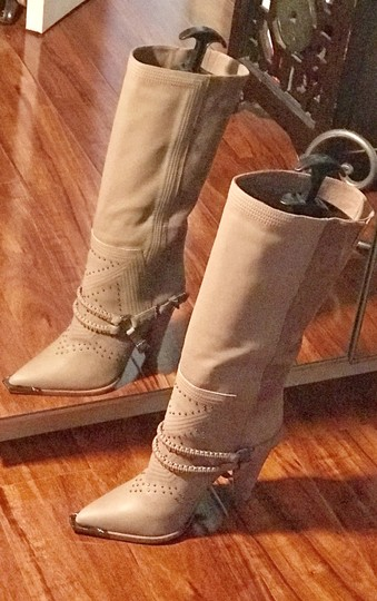 SOLD! Ivy Kirzhner Suede Leather Studded Taupe Boots