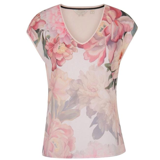 Preload https://item5.tradesy.com/images/ted-baker-pink-women-s-kushine-painted-posie-v-neck-woven-tee-shirt-size-10-m-22498699-0-0.jpg?width=400&height=650