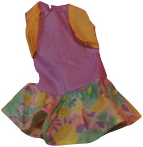 Barbie Barbie doll clothing purple yellow flower design dress with purple B