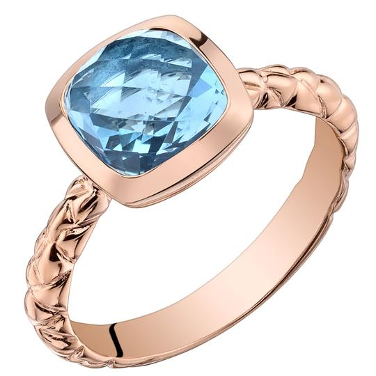 Other Swiss Blue Topaz Woven Solitare RIng