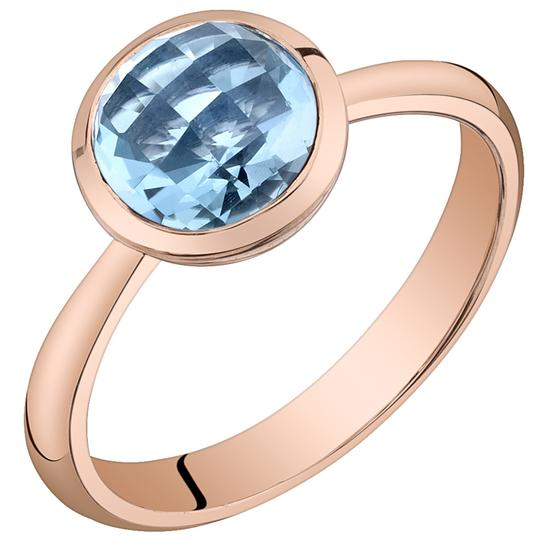 Other Swiss Blue Topaz Solitare Dome Ring