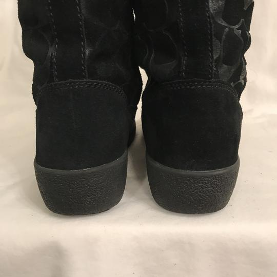 Coach Suede Leather Winter Signature Logo Black Boots