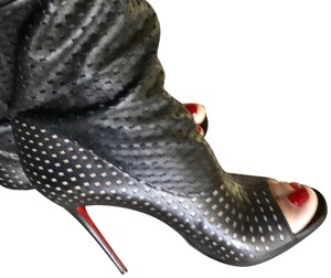 Christian Louboutin Leather Lambskin Tie Midcalf Black Boots