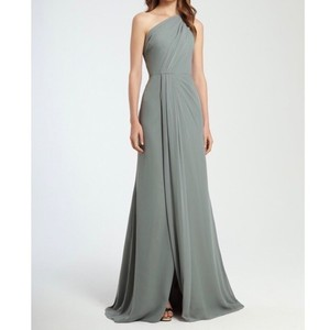 Monique Lhuillier Sea Chiffon Full Length 450342 Formal Bridesmaid/Mob Dress Size 10 (M)