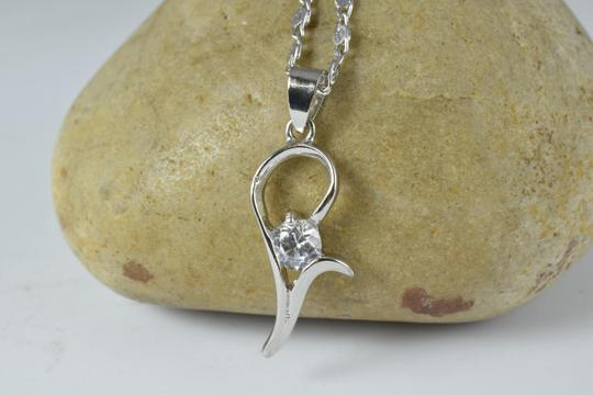 LBDS 11x25 Single Minimalist White Gold Filled Rhodium Pendant With Clear