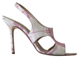 Manolo Blahnik Pink and White Sandals