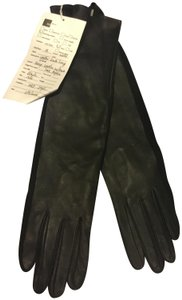 Ann Taylor Black Lamb Leather/100% Acrylic 2 Toned Long Gloves