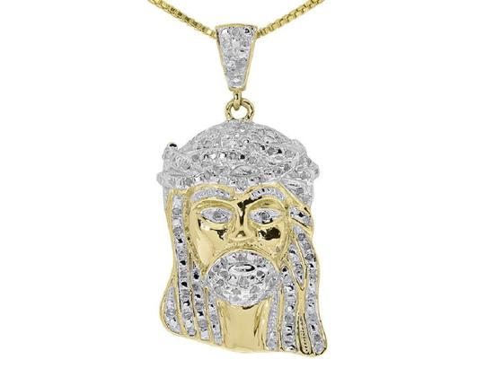Preload https://img-static.tradesy.com/item/22499063/jewelry-unlimited-yellow-silver-gold-finish-mens-ladies-round-diamond-1-jesus-pendant-050-ct-charm-0-0-540-540.jpg