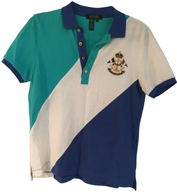 Preload https://item3.tradesy.com/images/polo-ralph-lauren-blue-turquoise-white-fit-stripe-bullion-crest-button-down-top-size-4-s-22499077-0-1.jpg?width=400&height=650