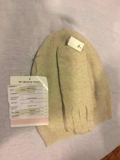 Ann Taylor 100% Cashmere Birch Beige Hat and Glove Set