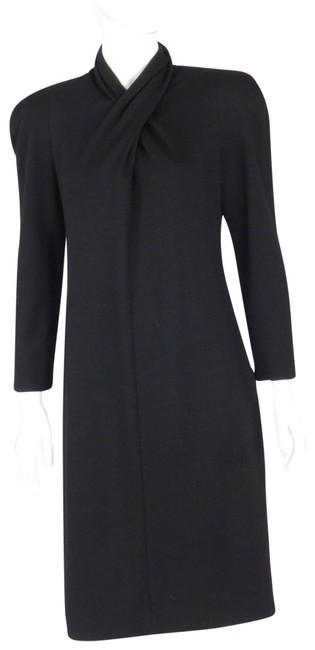 Preload https://item3.tradesy.com/images/genny-black-vintage-strong-shoulder-twisted-front-wool-long-formal-dress-size-8-m-22499137-0-1.jpg?width=400&height=650