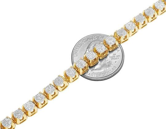 Jewelry Unlimited 10K Yellow Gold Diamond 6MM Cluster Tennis Chain Necklace 6.2 Ct 24