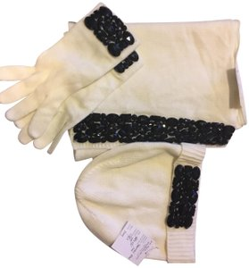 Ann Taylor Embellished Ribbed 100% Acrylic Large Scarf Hat and Glove Set