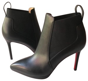 Christian Louboutin Leather Red Sole Stiletto Black Boots