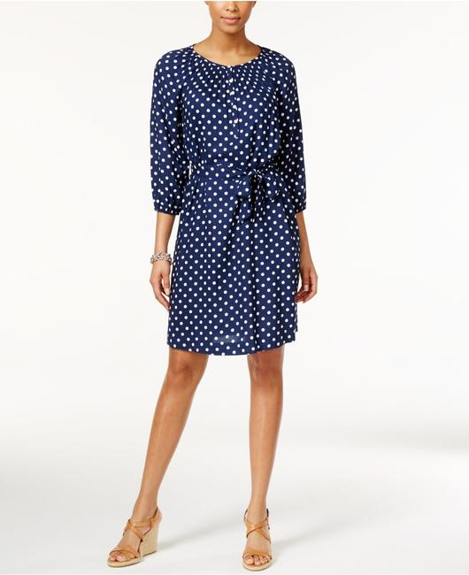 American Living 3/4 Sleeve Polka Dot Belted Viscose Butons Dress