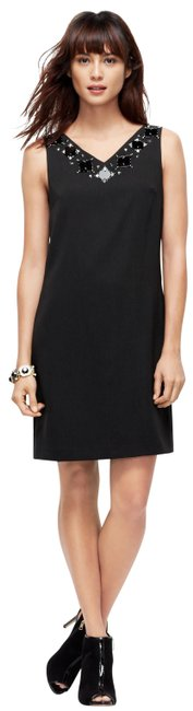 Ann Taylor Sleeveless Beaded V-neck Polyester Neck Strap Dress