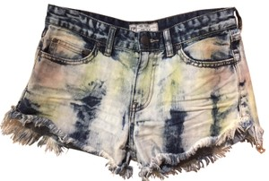 Free People Washed Out Distressed Frayed Cut Off Shorts denim