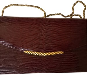 Mark Cross Lizard Skin Gold Hardware Evening Vintage Maroon Clutch
