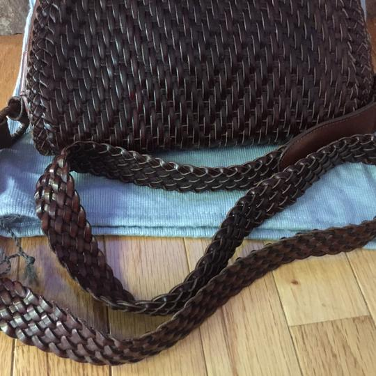 De Vecchi Vintage Saddle Woven Leather Italian Shoulder Bag