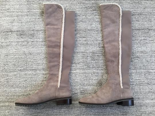 Stuart Weitzman Shearling Suede Over The Knee Gray Boots