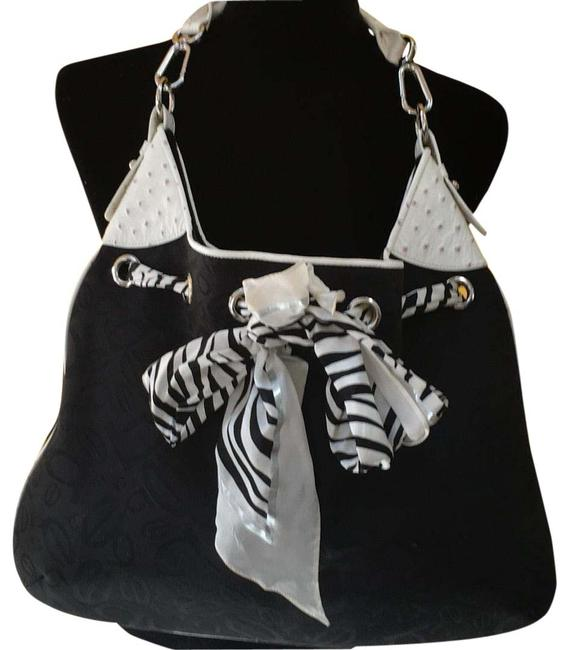 Item - Ostrich Black and White Fabric Faux Leather Hobo Bag