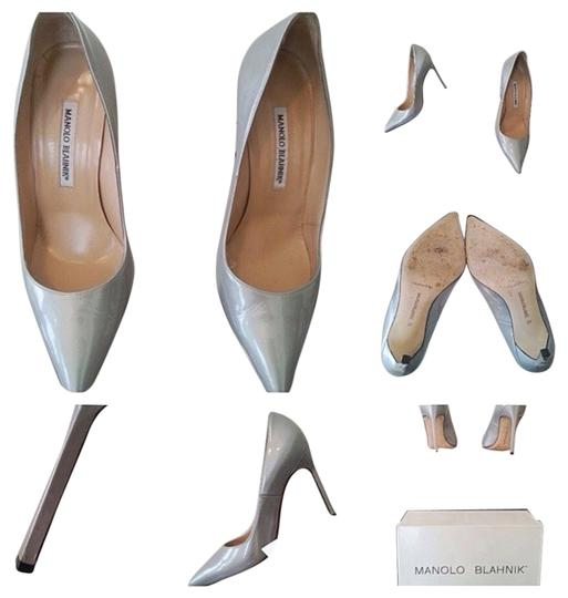 Manolo Blahnik Metallic Silver Pumps