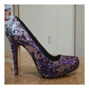 Report Signature Sequin Platinum Pointed Toe Purple Silver Platforms