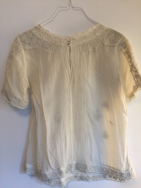 Gold Hawk Embroidered Silk Cotton Top off white