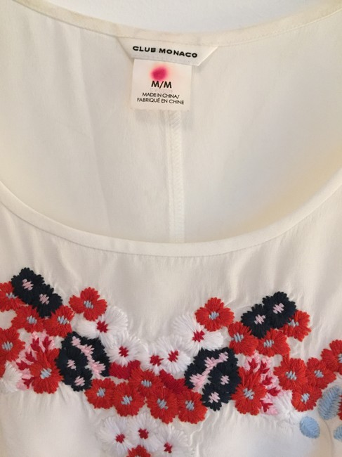 Club Monaco Silk Top White with floral embroidery