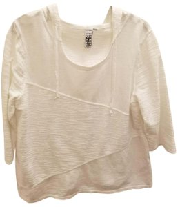 Hot Cotton Casual 3/4 Sleeve Textured Hooded Sweater