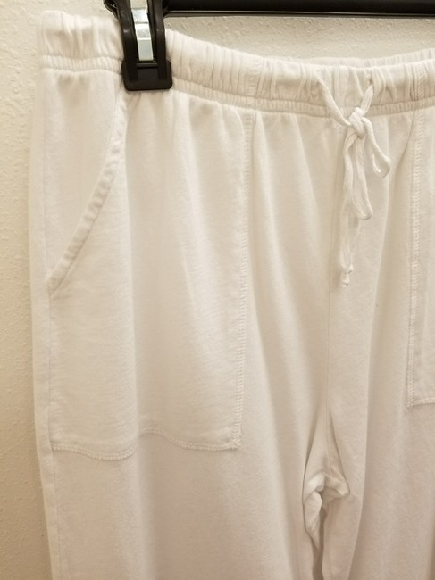 Hot Cotton Casual Pockets Elastic Tie Capris white