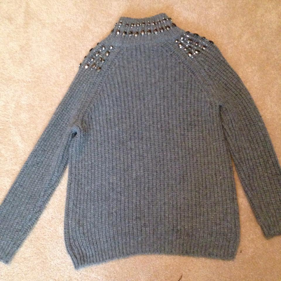 fd255269 Zara Knit Jewel Emblished Knit Grey Sweater - Tradesy