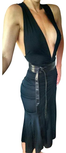 Preload https://item4.tradesy.com/images/dkny-black-bodycon-ruched-leather-belted-mid-length-cocktail-dress-size-4-s-22499798-0-2.jpg?width=400&height=650