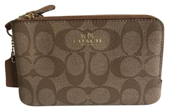 Preload https://item1.tradesy.com/images/coach-khaki-and-saddle-brown-saddle-f66506-signature-double-corner-zip-wristlet-wallet-22499815-0-1.jpg?width=440&height=440