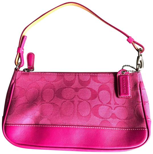 Preload https://item4.tradesy.com/images/coach-shoulder-pink-rose-hot-pink-fuchsia-leather-canvass-clutch-22499978-0-1.jpg?width=440&height=440