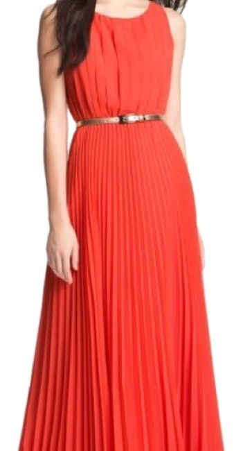 Preload https://item2.tradesy.com/images/eliza-j-coral-pleated-chiffon-long-casual-maxi-dress-size-4-s-22500061-0-1.jpg?width=400&height=650