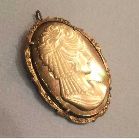 Antique Vintage Antique Abalone Shell Cameo Marcasite Pendant Pin