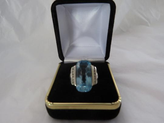 David Yurman Albion Collection Deco Elong Hampton Blue Topaz/Diamond SS, Size 5.75