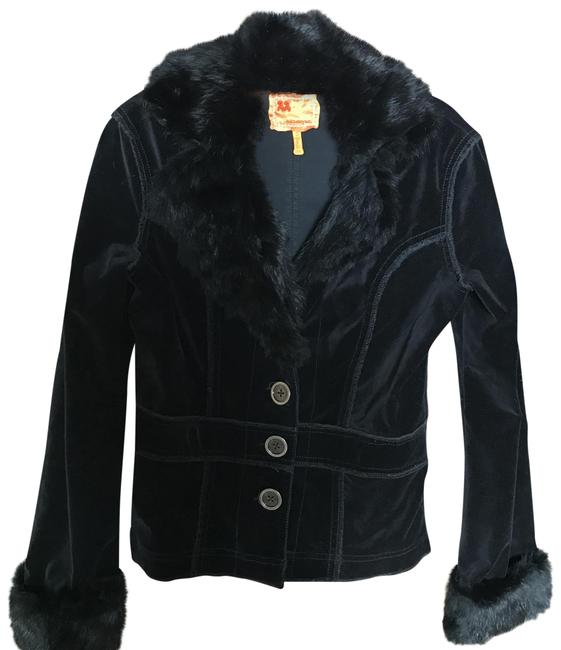 Item - Black Velvet Jacket with Real Fur Collar and Cuffs Blazer Size 8 (M)