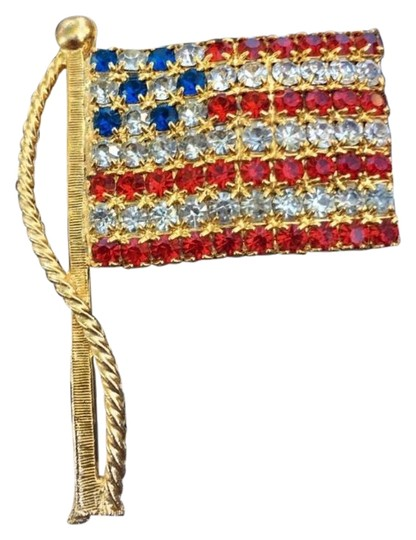 Preload https://item2.tradesy.com/images/gold-american-flag-crystal-stone-pin-22500266-0-1.jpg?width=440&height=440