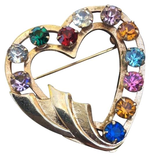 Preload https://item1.tradesy.com/images/gold-multi-color-stone-heart-pin-22500285-0-1.jpg?width=440&height=440